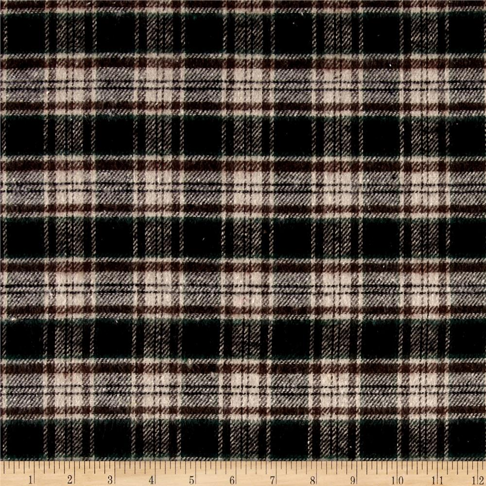 Yarn Dyed Flannel Plaid Brown/Cream/Green Fabric