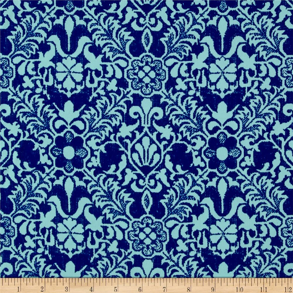 Faille Damask Print Shirting Blue/Teal