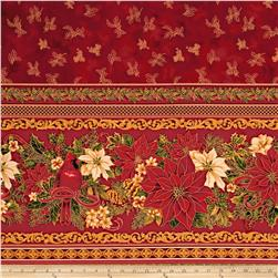 "Holiday Flourish 6 Tabletop 58"" Wide Metallic Crimson"