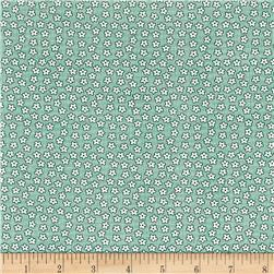 Nana Mae 1930's Tiny Flowers On Small Grid Green