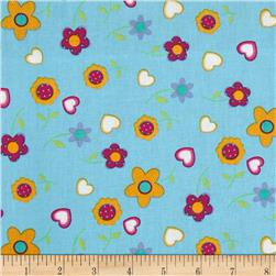 Tossed Daisies Turquoise/Gold/Burgundy
