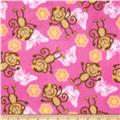 Fleece Monkeys, Flowers, & Butterflies Pink