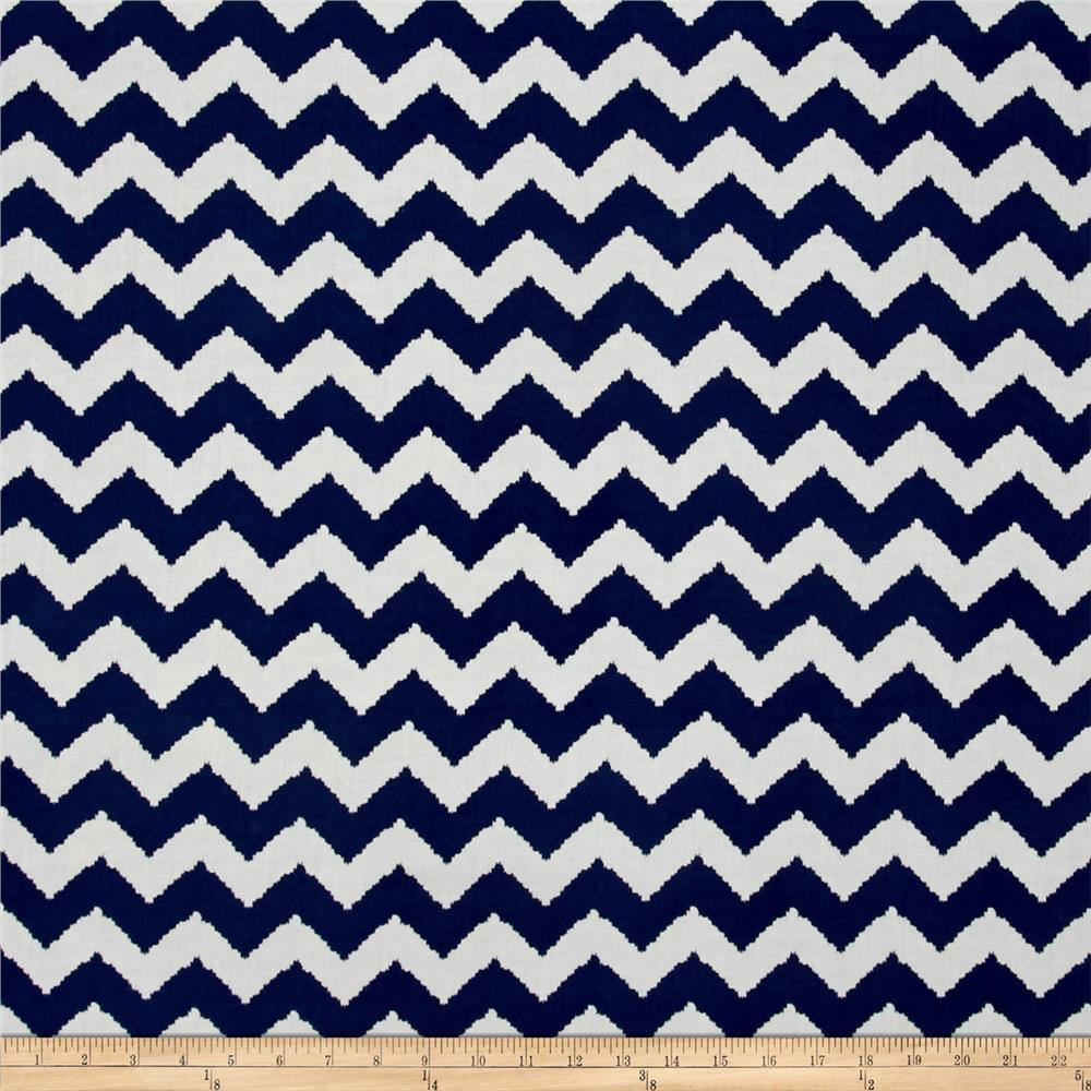 Rayon Challis Zig Zag Royal Blue/White