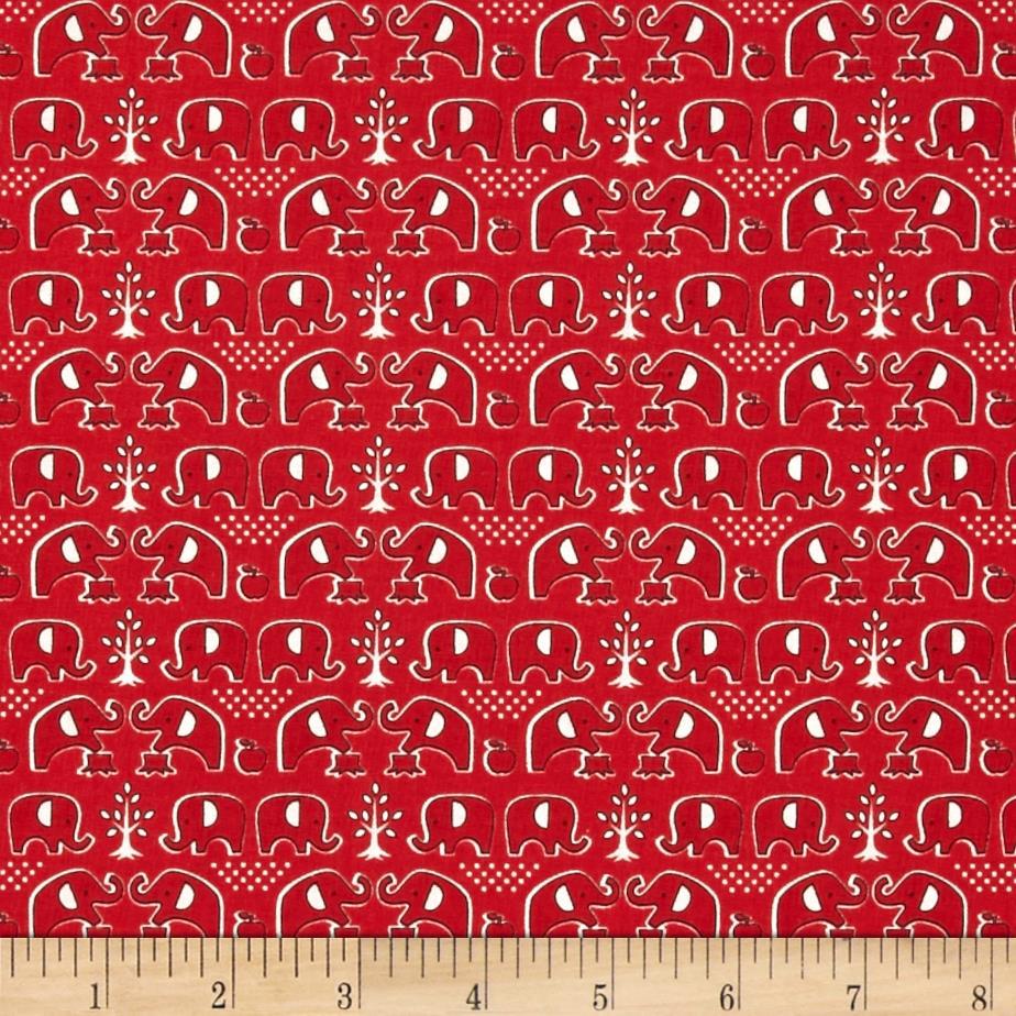 Seven islands elephants and apples red discount designer for Elephant fabric