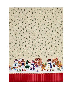 Holiday Snowman Double Border Ivory