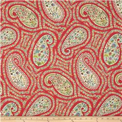 Waverly Paisley Proposal Twill Poppy