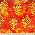 Indian Batik Tribal Large Medallion Orange/Yellow