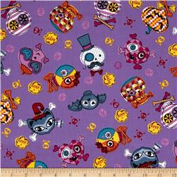 Trick or Treat Skull & Cat Faces Purple