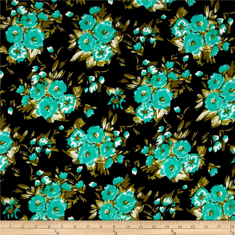 Crepe Turquoise Bouquet on Black