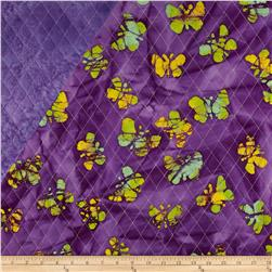 Indian Batik Double Sided Quilted Butterflies Purple