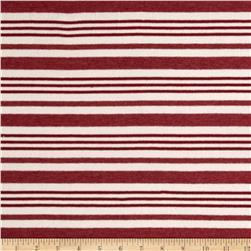 Cotton Lycra Spandex Jersey Knit Tres Stripe Red/Cream
