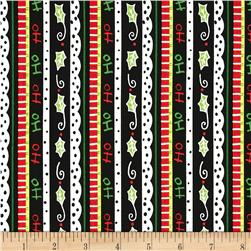 Happy Holly Days Ticking Stripe Black