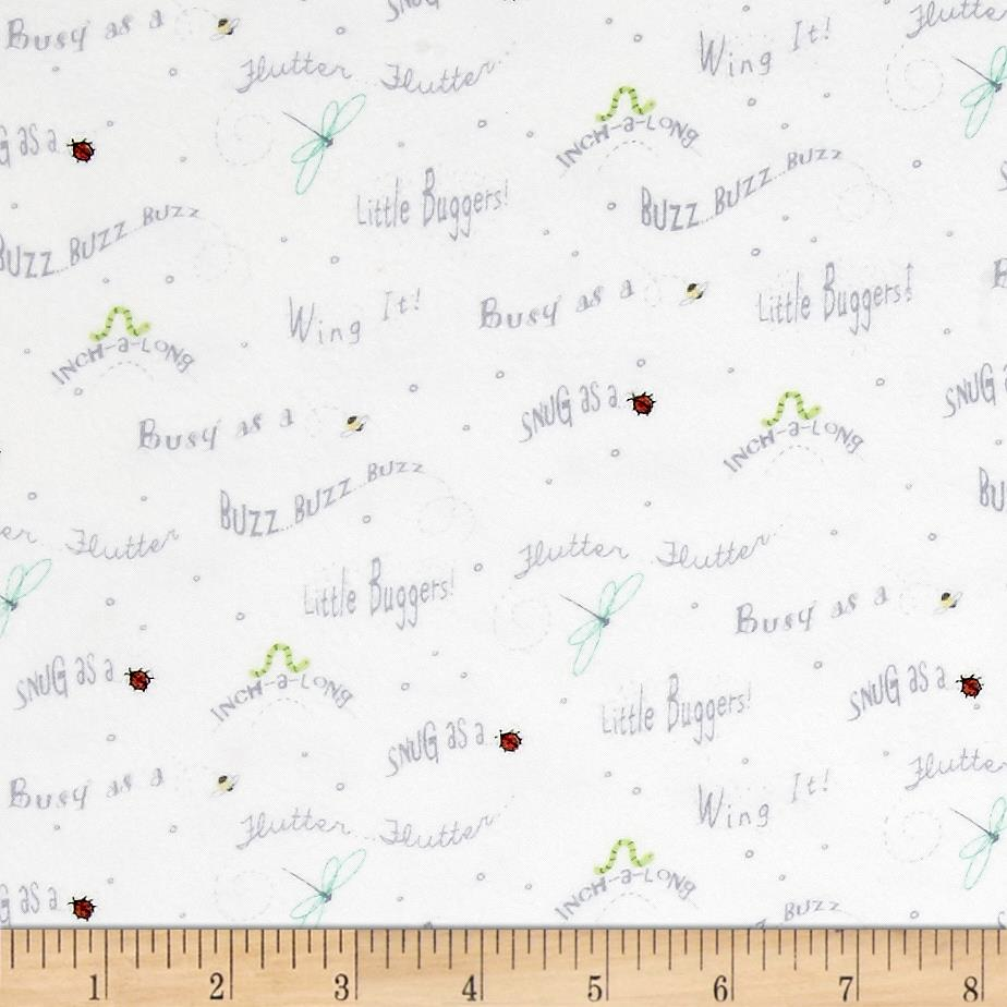 Ink & Arrow Flannel Little Buggers Flannel Words White Fabric