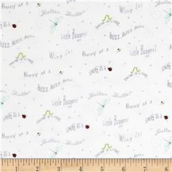 Ink & Arrow Flannel Little Buggers Flannel Words White