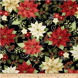 Happy Holidays Metallic Poinsettia Black