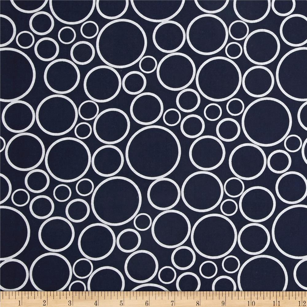 "108""  Wide Spot On Wide Quilt Backing Circles Navy"