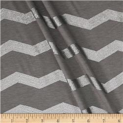 Soft Jersey Knit Sequin Chevron Ash Grey