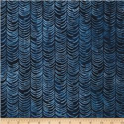 Artisan Batiks Color Source Feather Stripe Indigo Fabric
