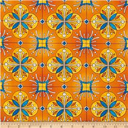 Esperanza Large Spanish Tile Mango Orange Fabric