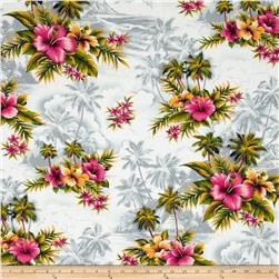 Hoffman Tropicals Palms & Hibiscus Silver Fabric