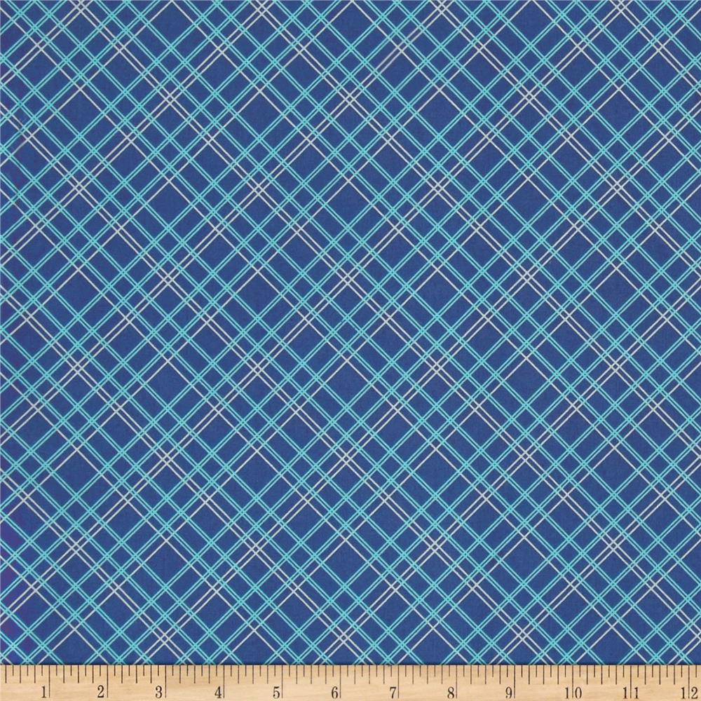 """Riley Blake Bee Backings and Borders 108"""" Quilt Back Plaid Blue"""