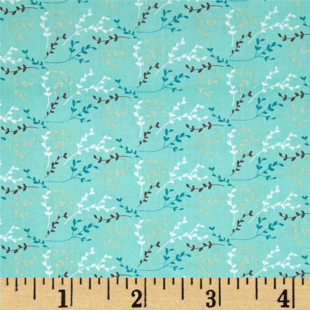 Fabric Freedom Springtime Floral Viney Sprigs Aqua