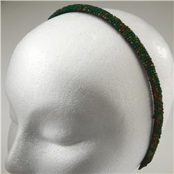 1/2'' Seed Bead Headband Green/Multi