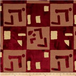 Robert Allen Promo Abstract Cut Velvet Royal Red
