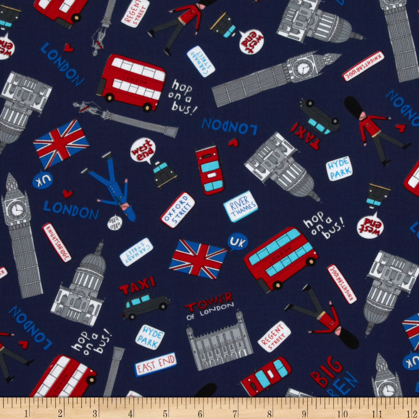 Kanvas Britian's Best London Tossed Navy Fabric