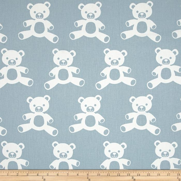 Premier Prints Teddy Twill Weathered Blue/White