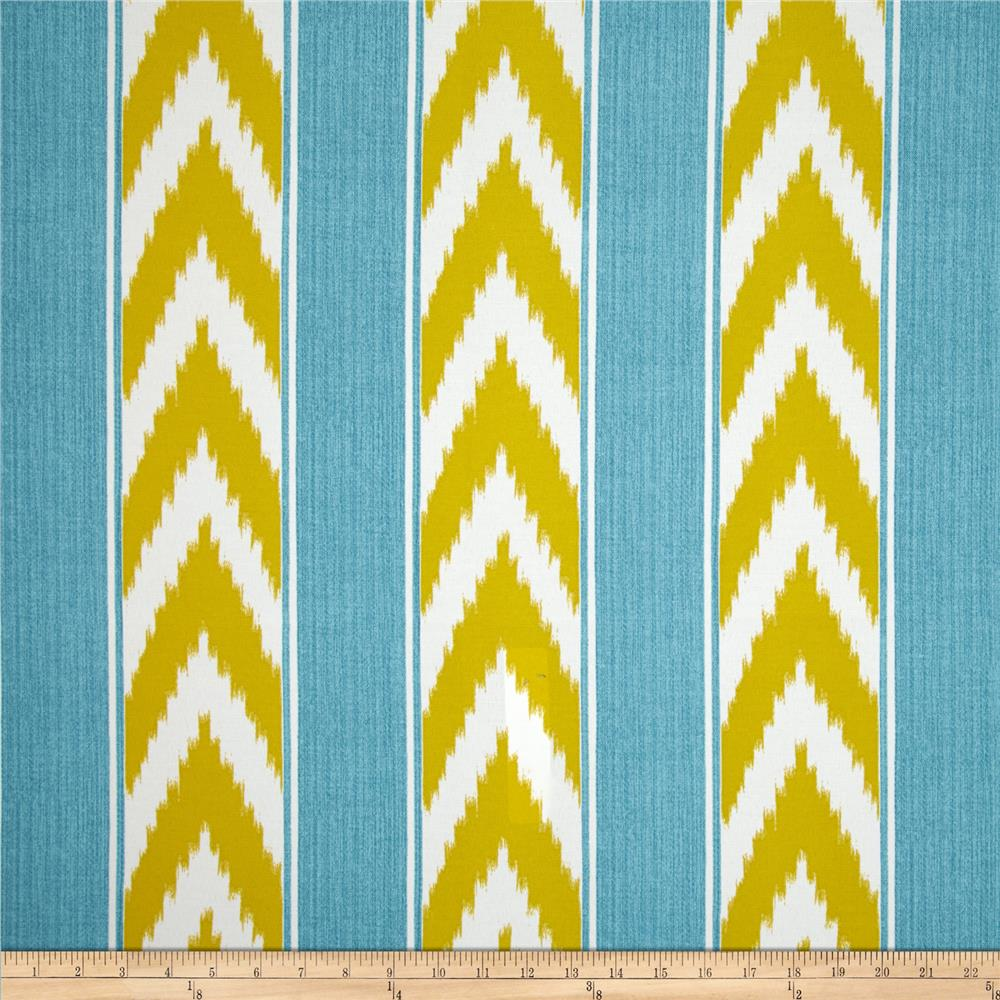P Kaufmann Indoor/Outdoor Ikat Stripe Island Blue