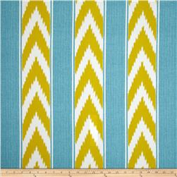 P Kaufmann Indoor/Outdoor Ikat Stripe Island Blue Fabric
