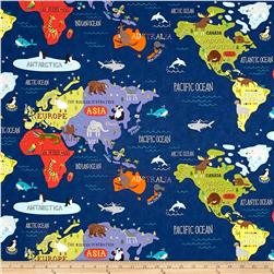 Moda Hello World Map Navy