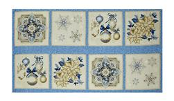 "Kaufman Holiday Flourish Metallic 24"" Block Panel Blue"