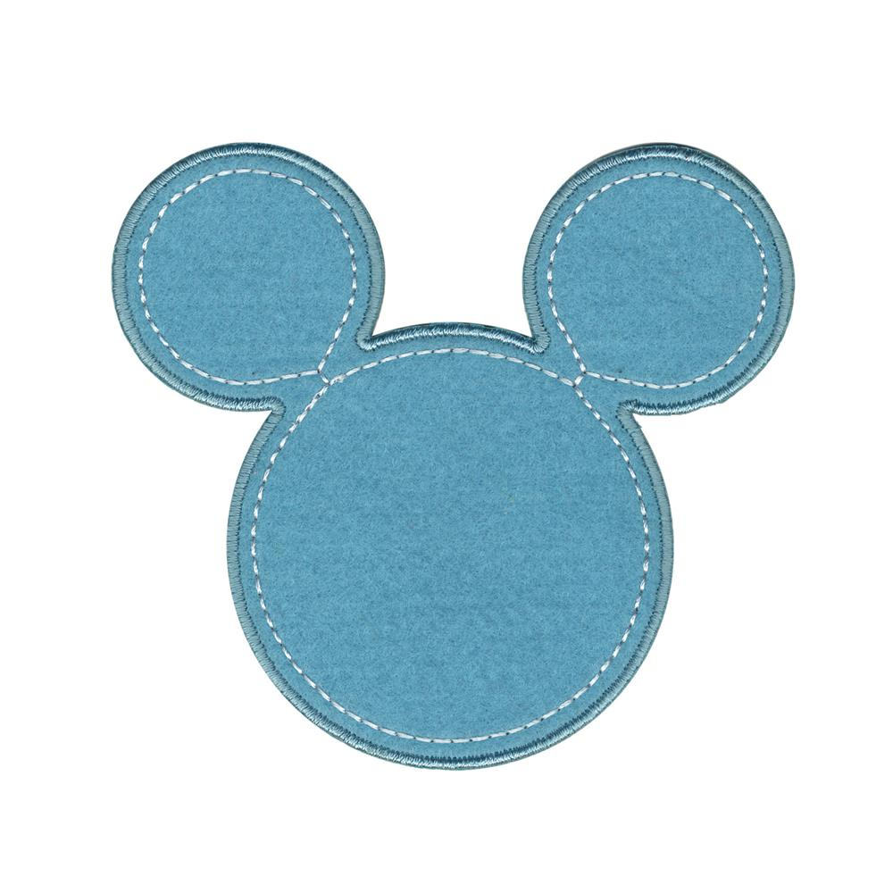 Disney Mickey Mouse Iron On Applique Mickey Blue Silhouette