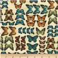Timeless Treasures Modern Curiosity Butterflies in Rows Natural