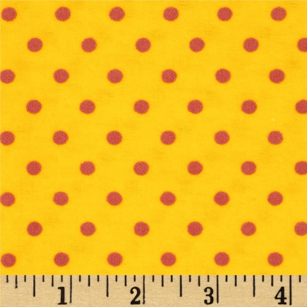 Aunt Polly's Flannel Small Polka Dots Yellow/Fuchsia