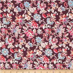 Cotton Lawn Etched Flowers Plum
