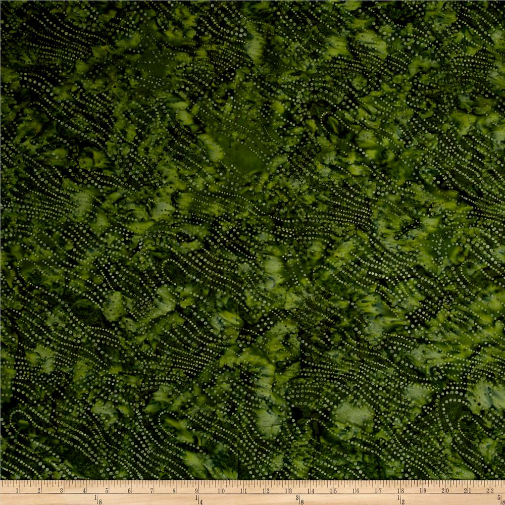 "Timeless Treasures 106"" Batik Dotty Bias Wave Kale"