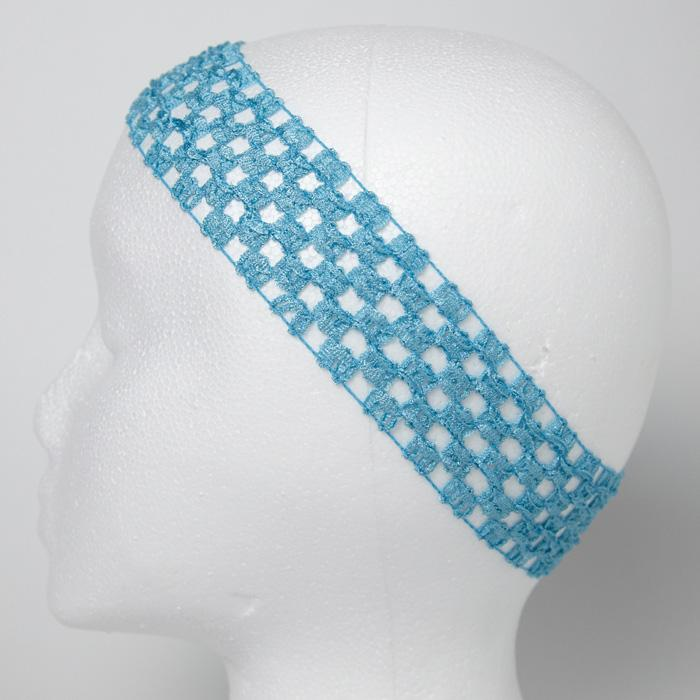 1 3/4'' Stretch Crochet Headband Light Blue
