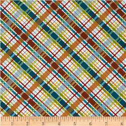 Michael Miller Dino Roars Lil' Bias Plaid Multi