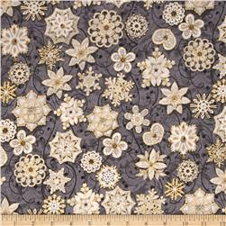 Evergreen Metallic Lace Snowflakes Charcoal