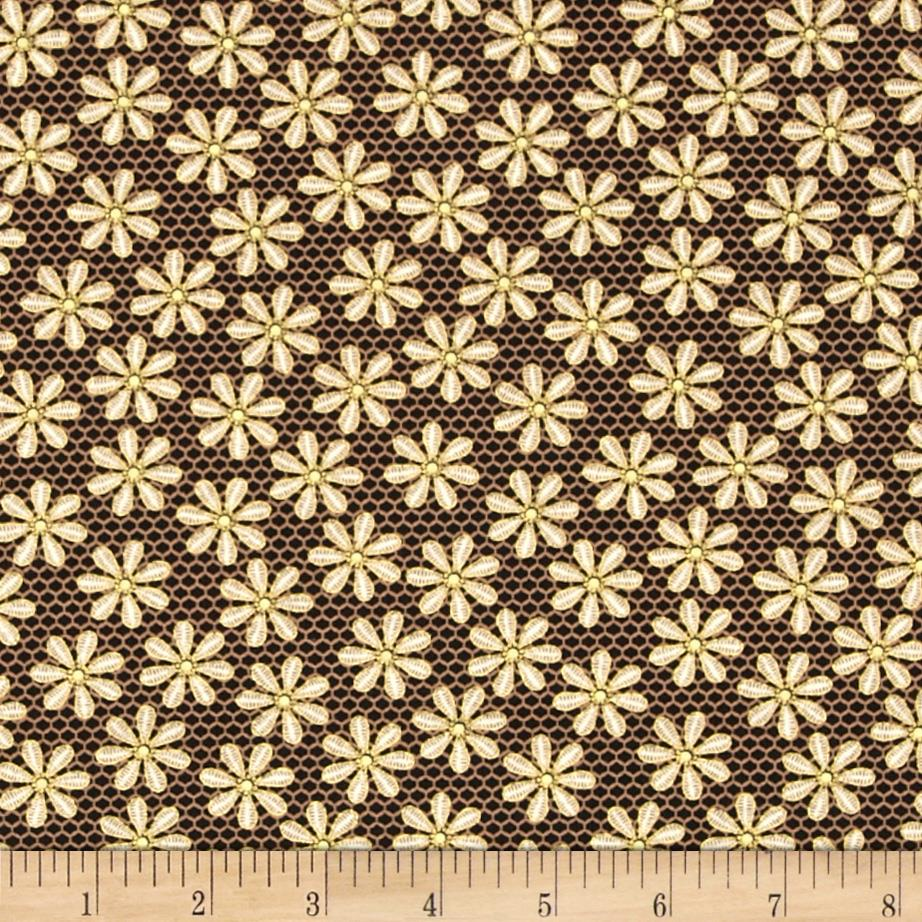 Metallic Lace Metallic Daisy Black/Gold