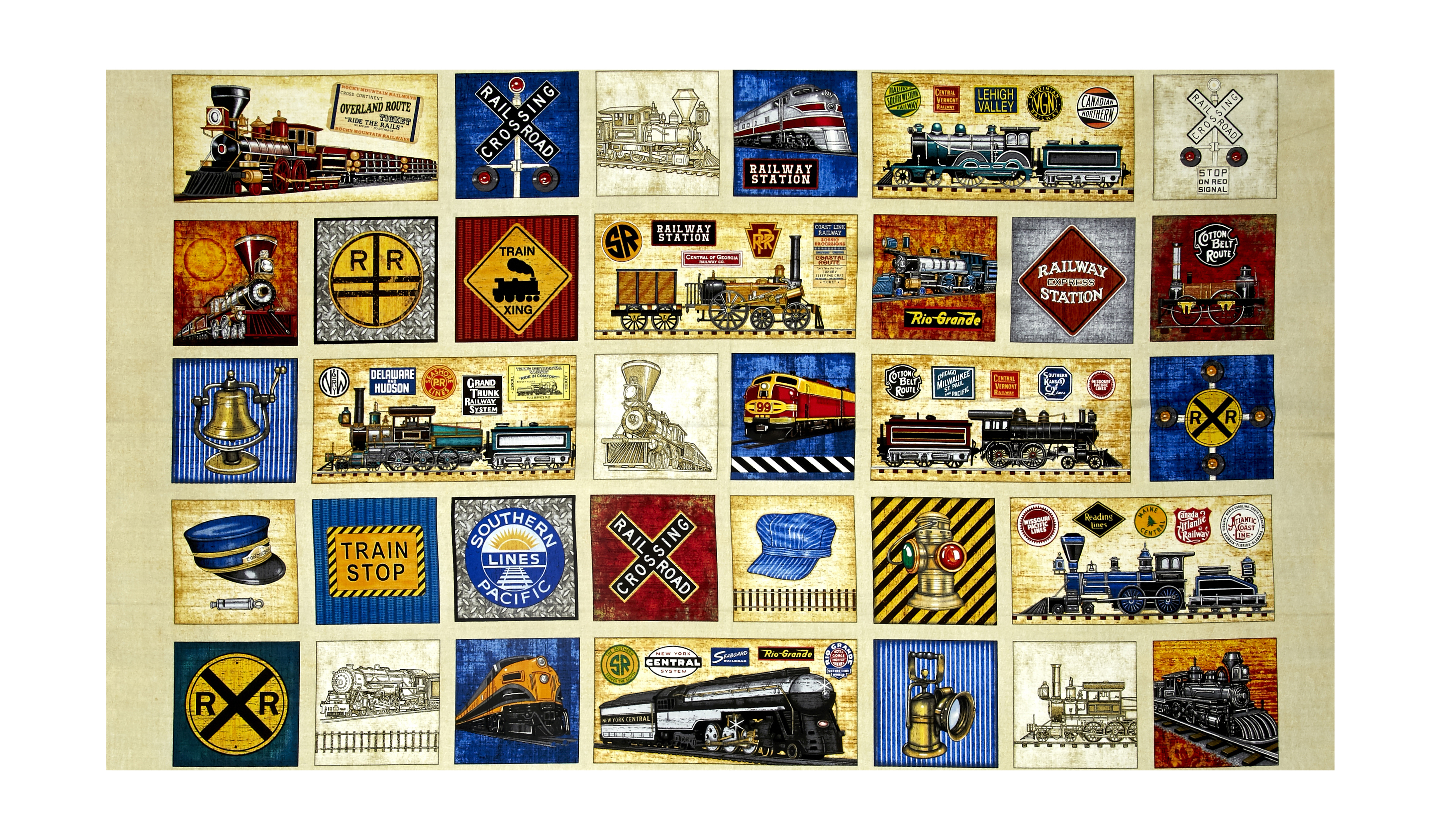 Full Steam Ahead Patchwork 24 Panel Light Oatmeal Fabric