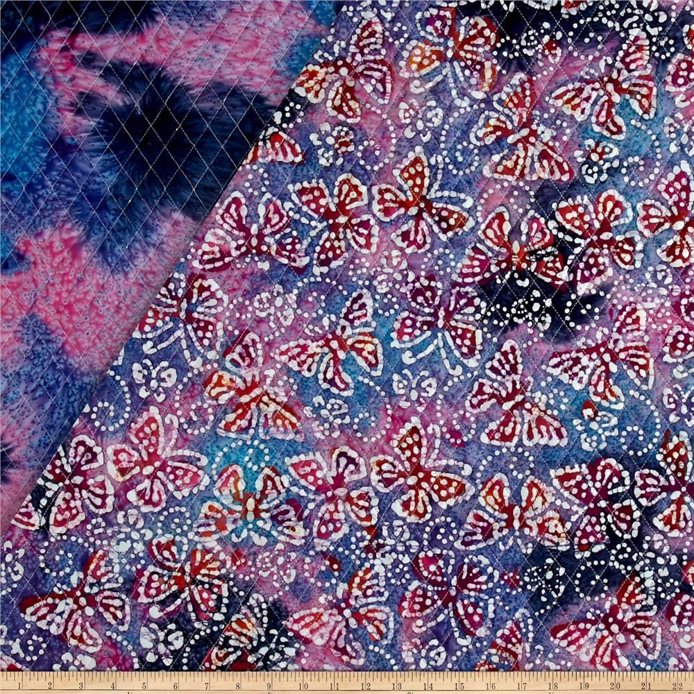 Double Face Quilted Indian Batik Butterflies Pink/Blue