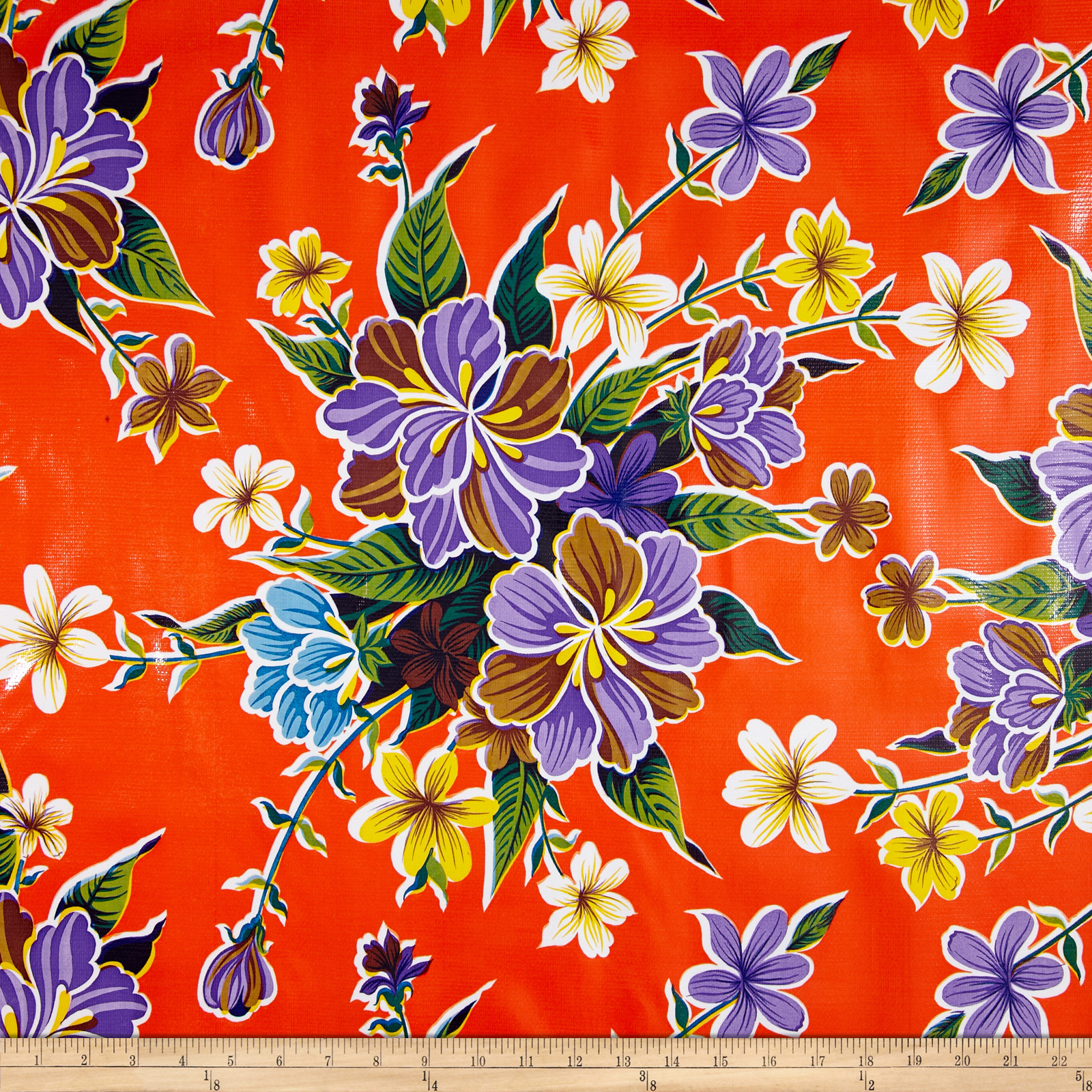 Oilcloth Hibiscus Orange Fabric by Oilcloth International in USA