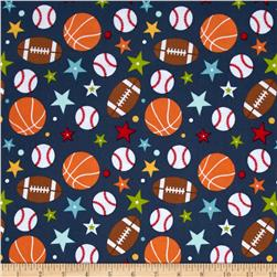 Riley Blake Play Ball Flannel Main Navy