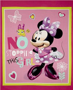 "Disney Minnie Pink No Stopping This Girl 36"" Panel Pink"