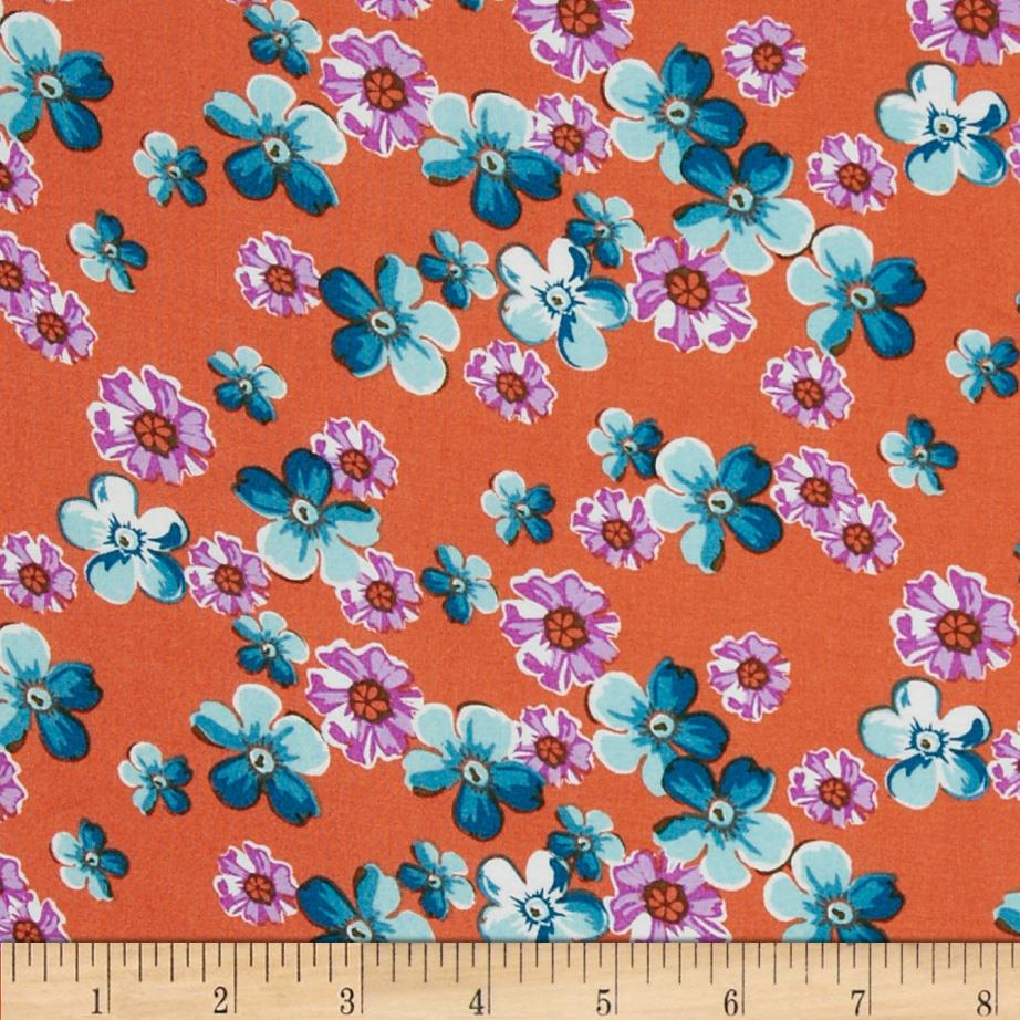 Designer Rayon Challis Floral Orange/Blue