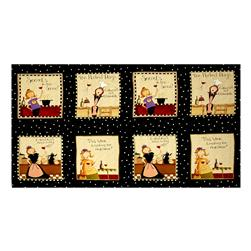 "Go Ahead & Wine Block 24"" Panel Black"
